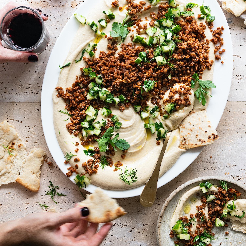 Spiced 'Mince' Hummus Platter