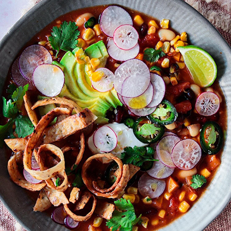 Mexican Three Bean Tortilla Soup
