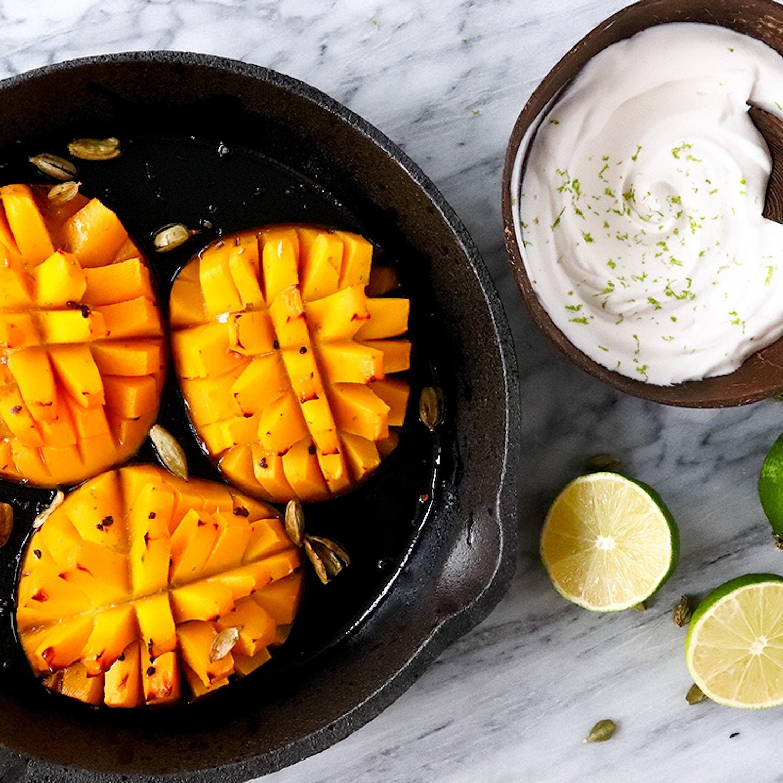 Baked Cardamom Mango with Lime Yogurt
