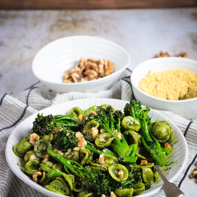 Orecchietta with Walnut Pesto and Roasted Broccoli
