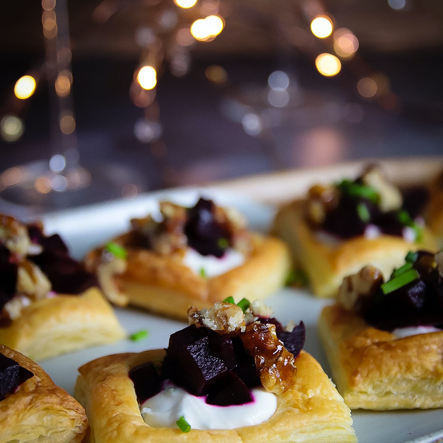 Roated Beetroot, 'cream cheese' and Candied Walnut Tartlets