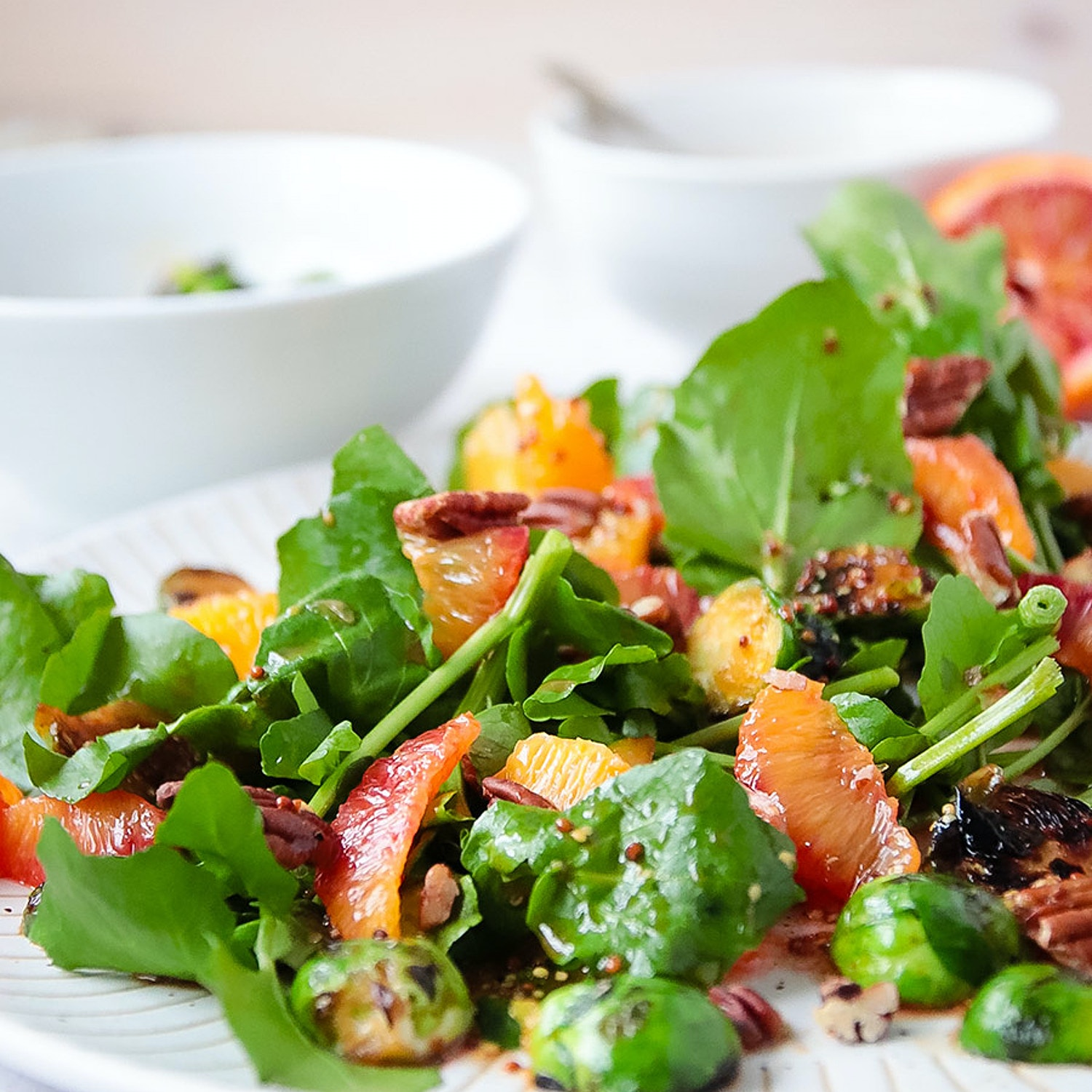 Charred Sprout, Blush Orange and Pecan Salad