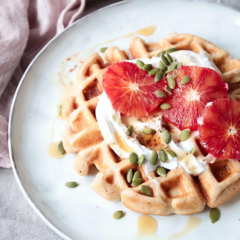 Spelt Waffles with Yogurt and Blood Orange