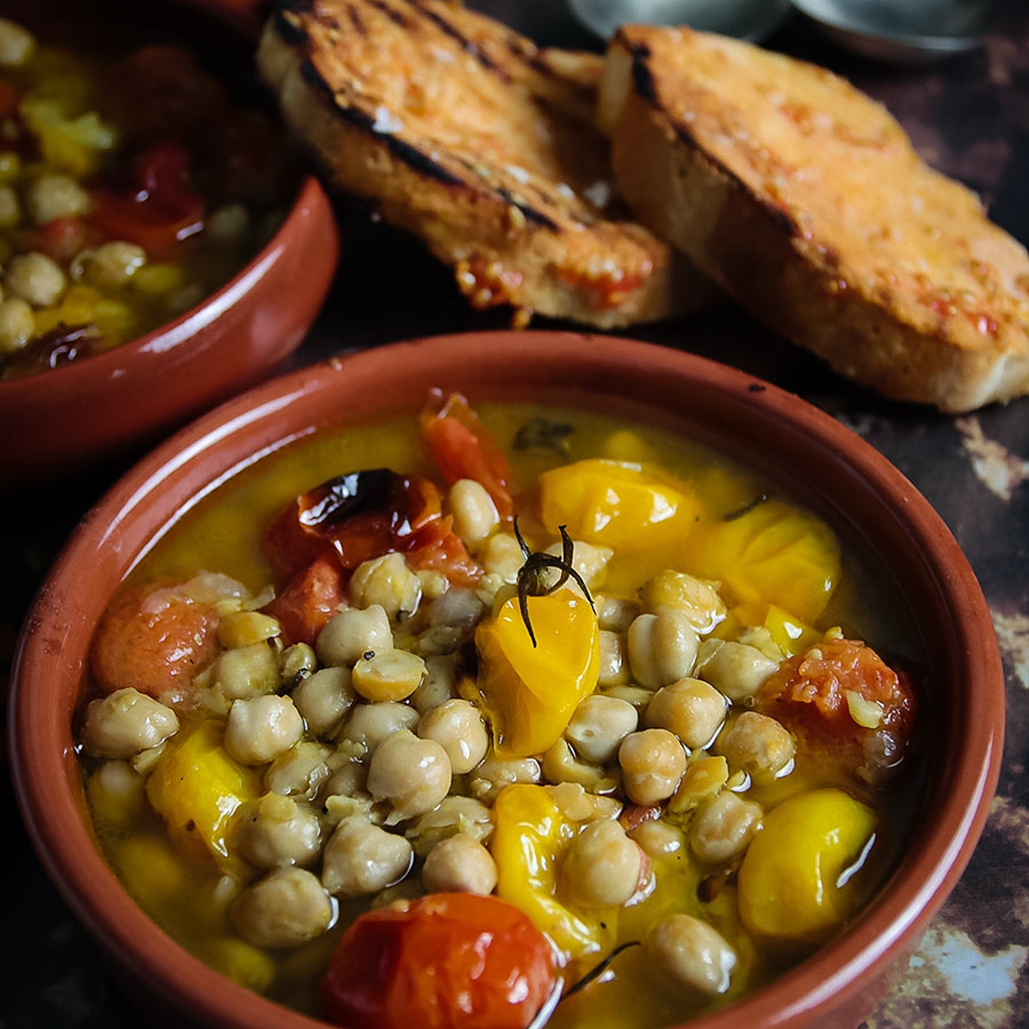 Chickpeas in Broth, Lots of olive oil & black pepper, Pan con Tomate