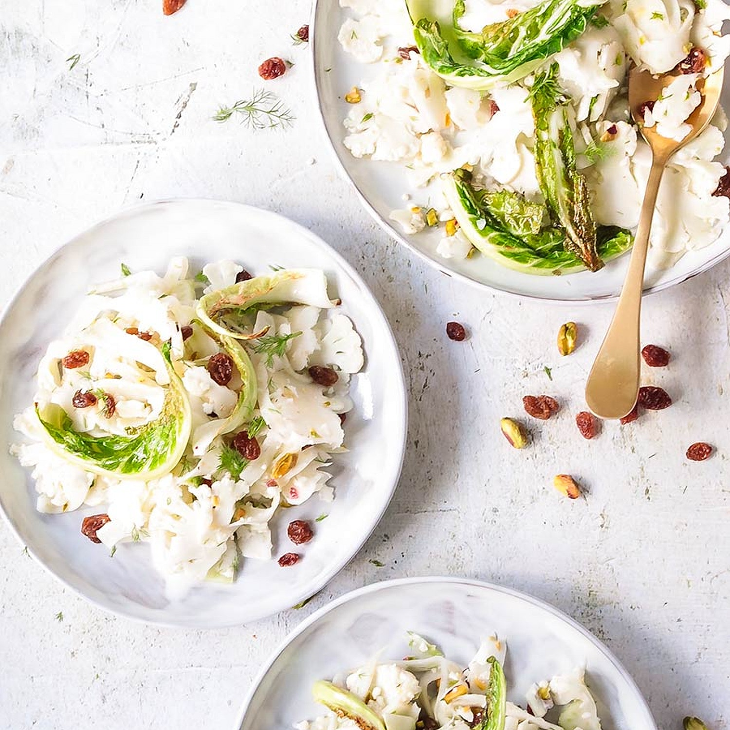 Sweet and Sour Shaved Cauliflower and Fennel salad