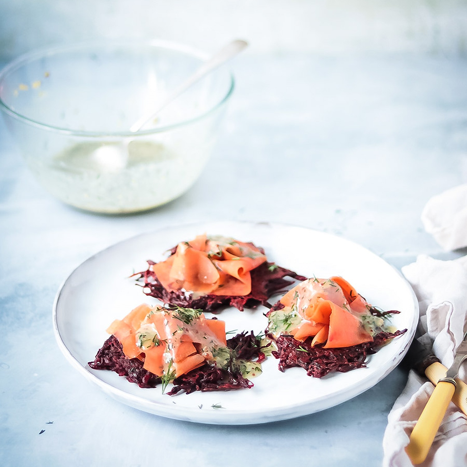 Beetroot Fritters and 'Gravlax'