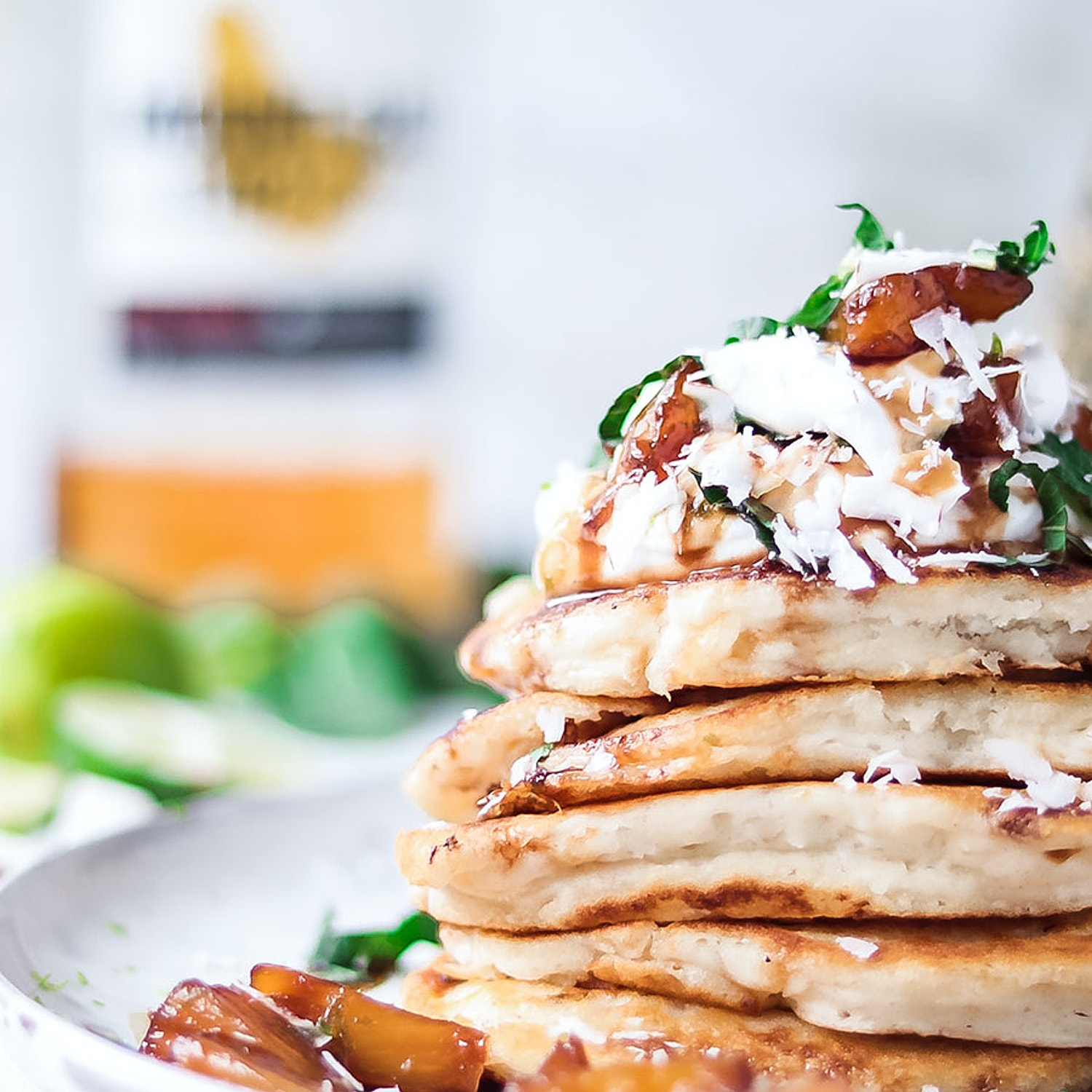 Pina Colada Pancakes. Fluffy Coconut pancakes with Caramelised Rum Pineapple