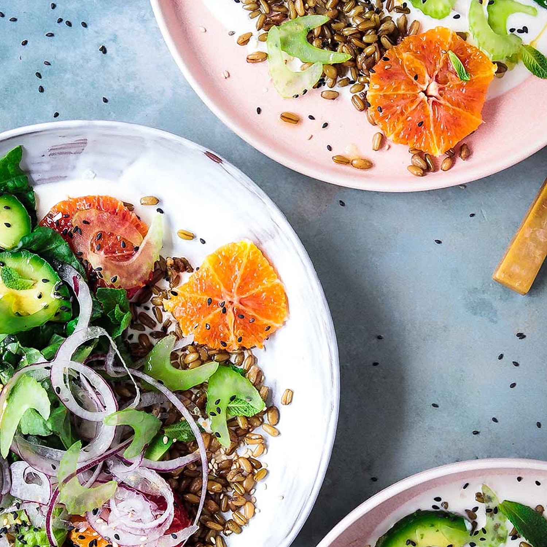 Spring Freekeh Salad with Tahini Yogurt Dressing