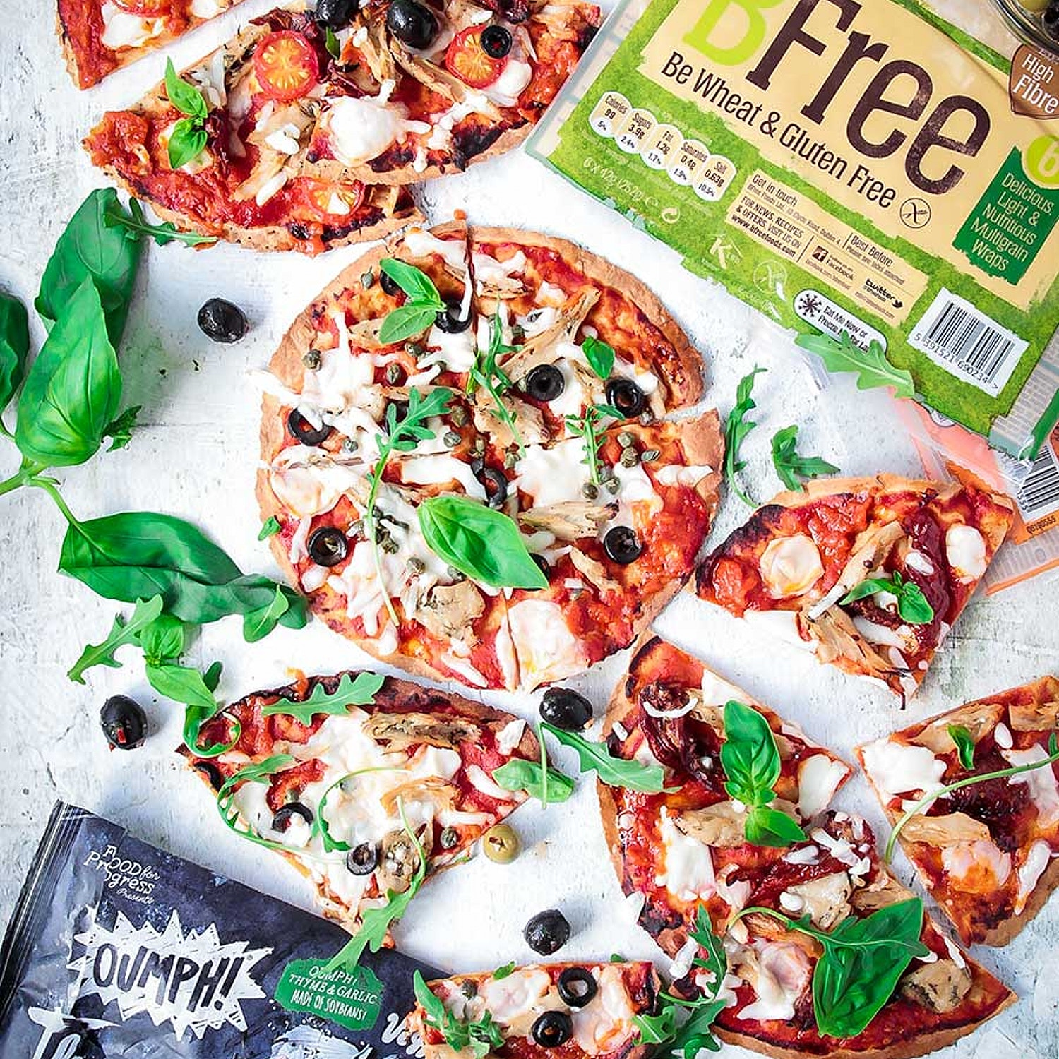 BFree Tortilla Pizzas with Garlic and Thyme Oumph!