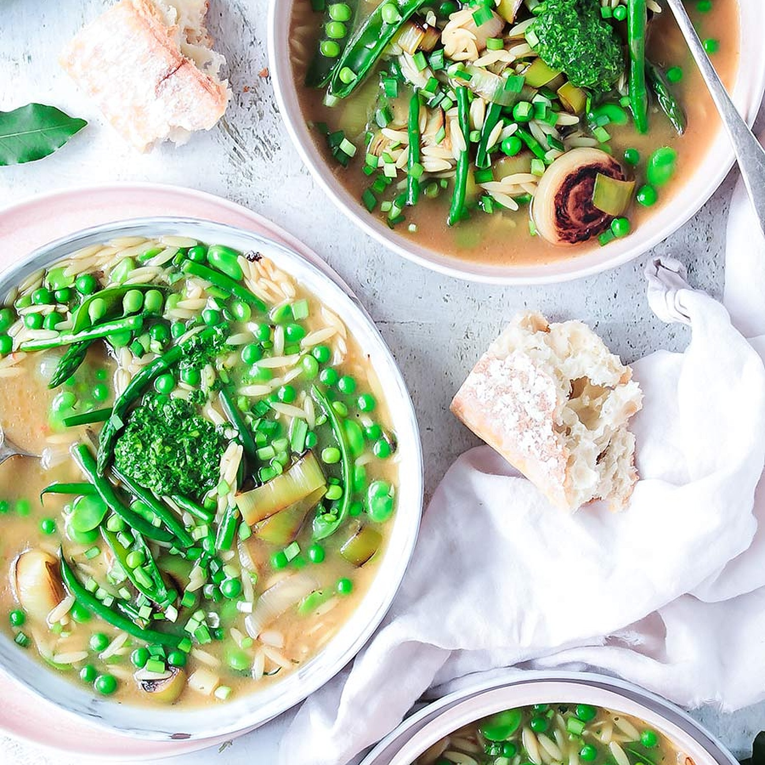 Spring Minestrone with Basil and Mint Pistou