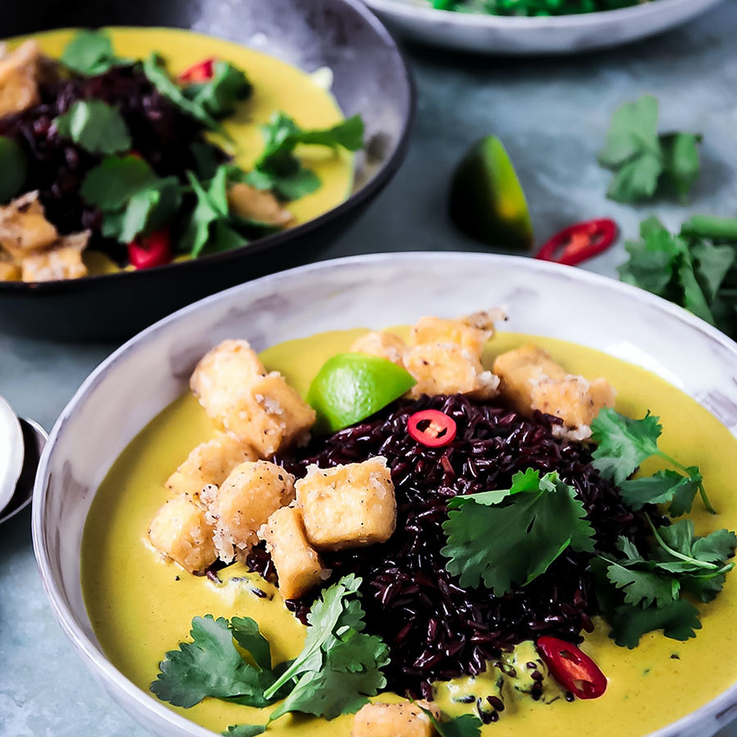 Fragrant Curry Bowls with salt and pepper Tofu and Black rice