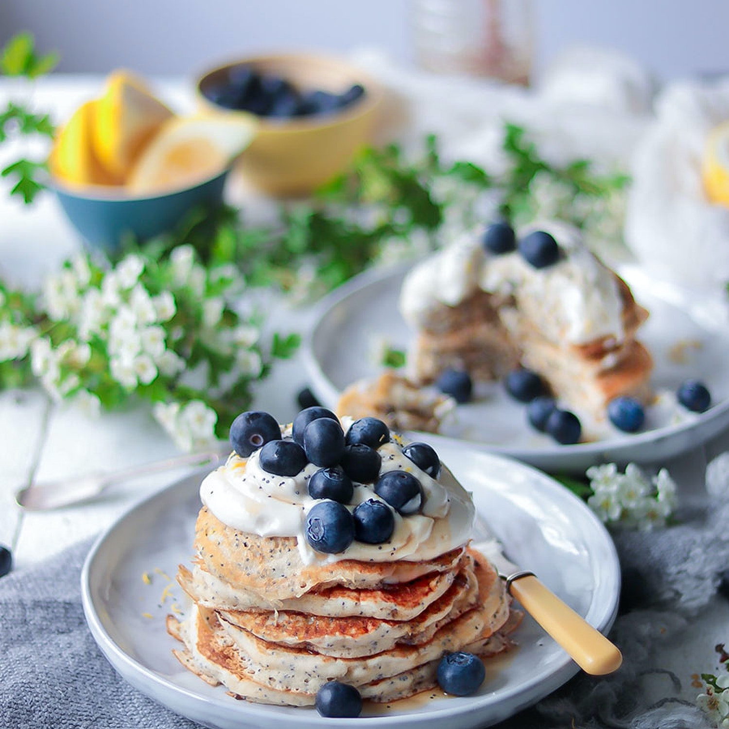 Lemon and Poppy Seed Pancakes with Creamy Cheese and Yogurt Topping
