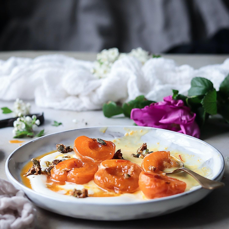 Saffron Apricots with Pistachio, Pumpkin and Sesame Seed Praline