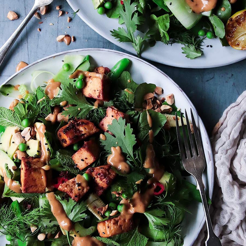 Crispy Tofu Salad With Tangy Peanut Dressing