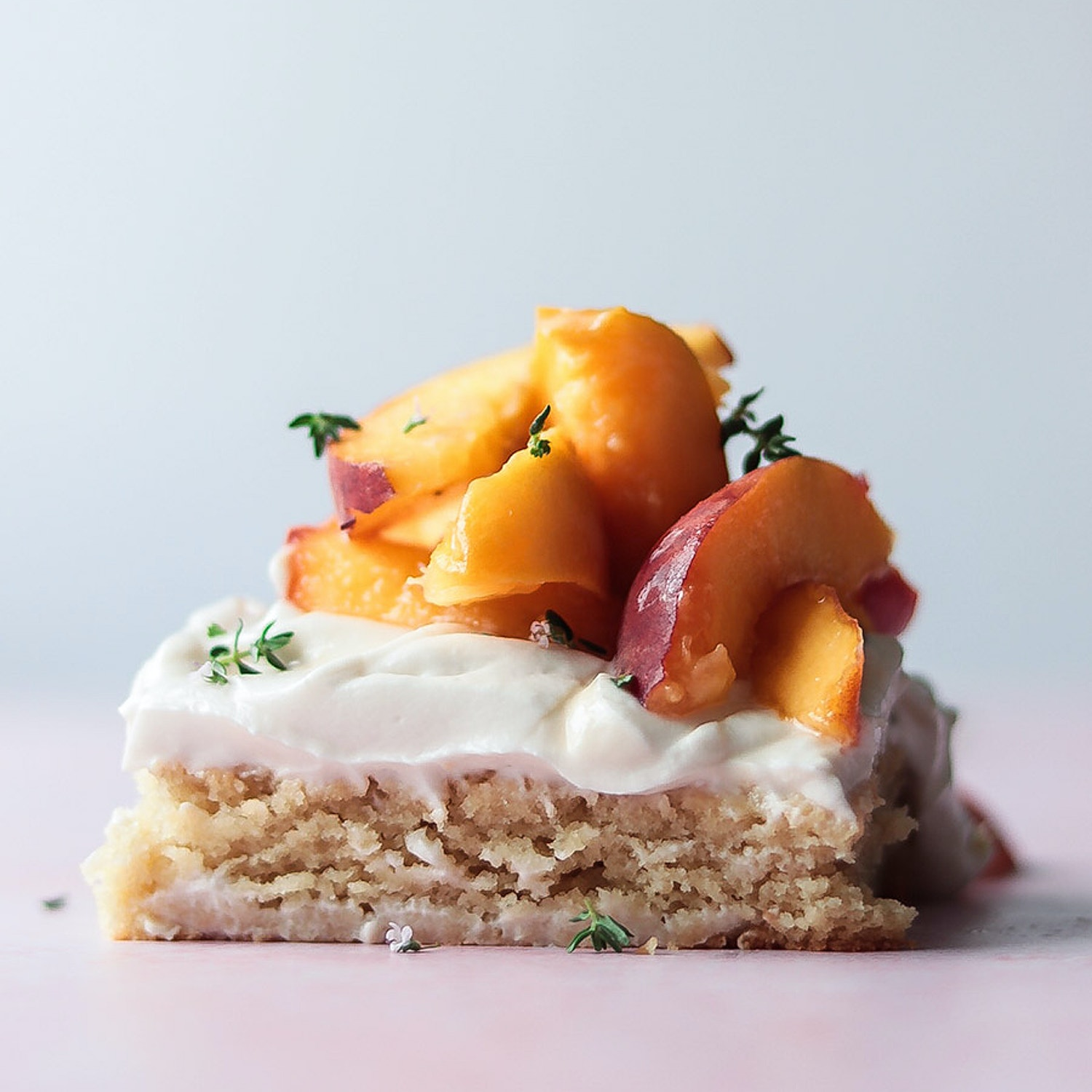 Vanilla and Almond Sheet Cake, with Fresh Peaches and Thyme