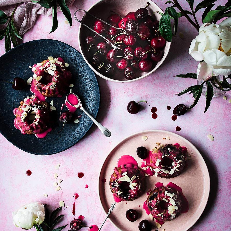 Mini Cherry Bakewell Bundt Cakes