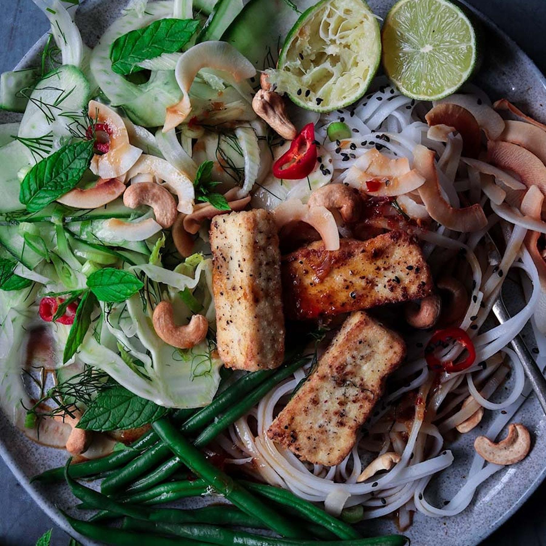 Salt and Pepper Tofu and Crunchy Green Noodle Salad