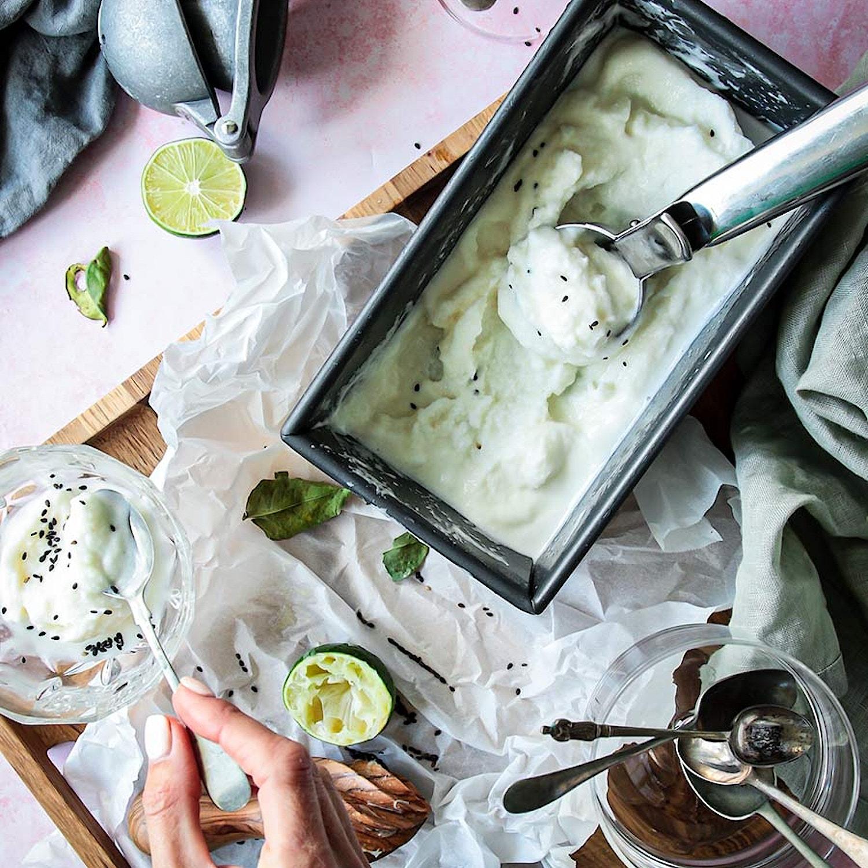 Lime Sherbet Infused with kaffir Lime Leaf