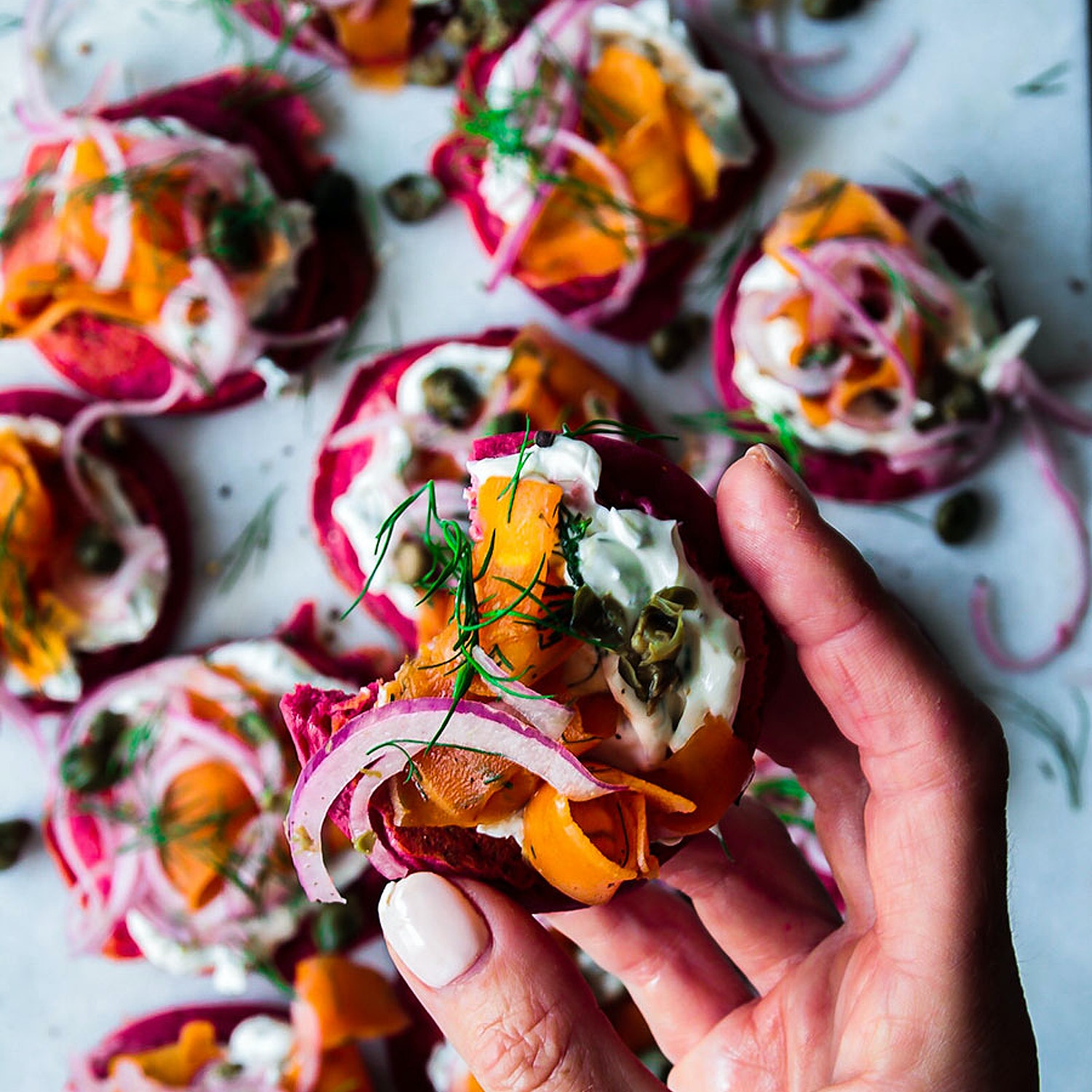 Beetroot Pancakes with Carrot Lox and all the Trimmings