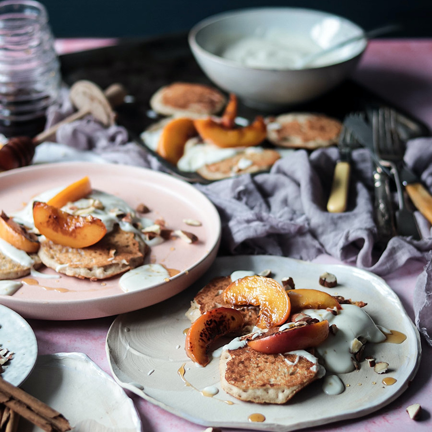 GF Almond and Buckwheat Pancakes with Caramelised Maple Peaches