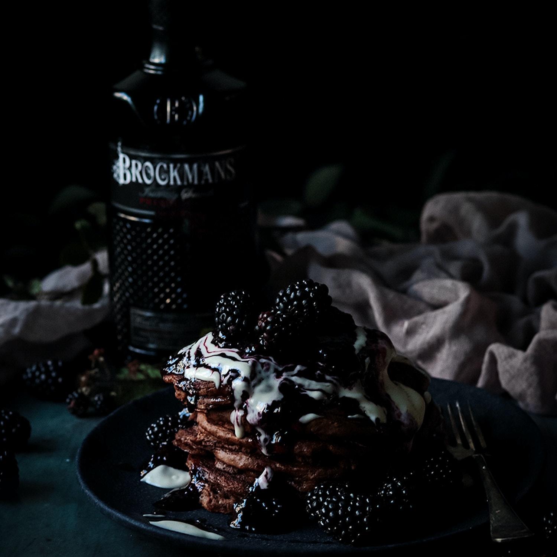 Boozy chocolate pancakes