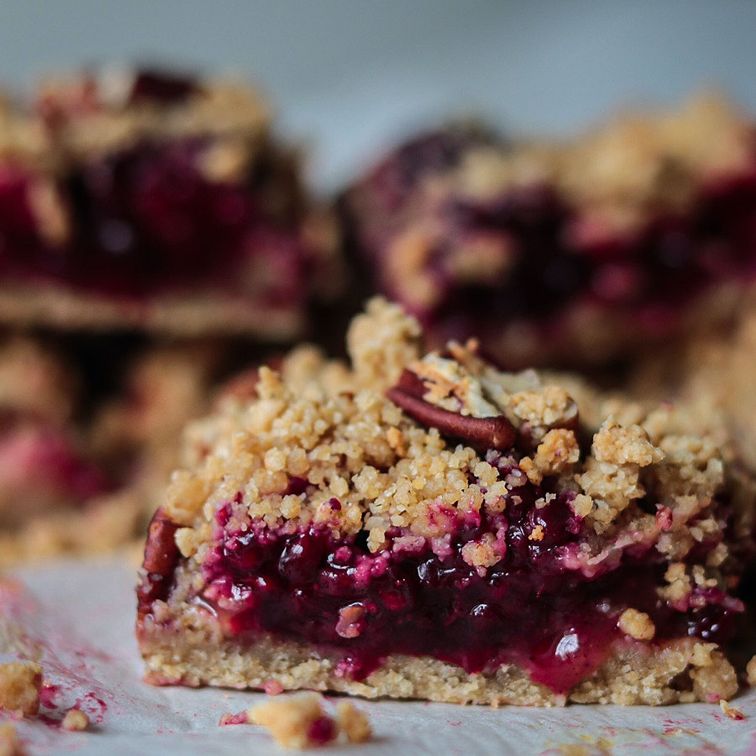 Apple and blackberry crumble bars