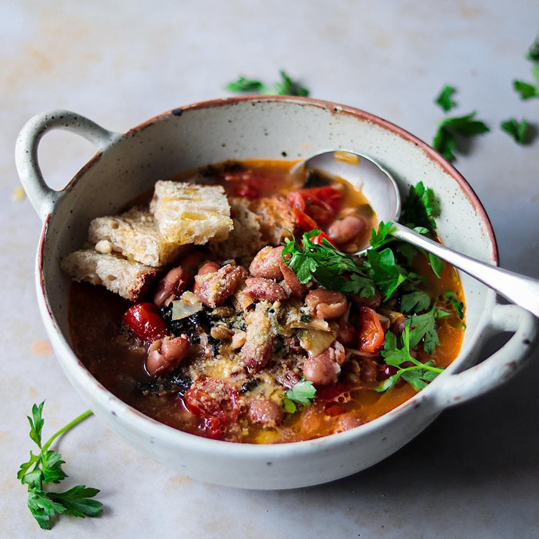 Borlotti bean and freekeh soup