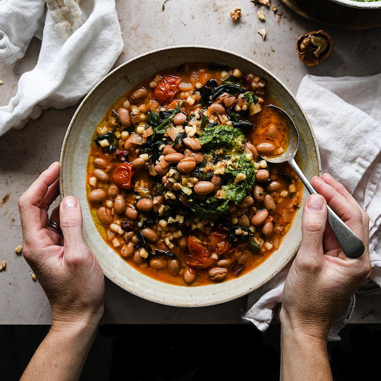 Borlotti minestrone with walnut pesto