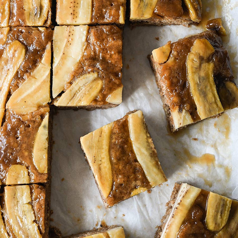 Upside Down Salted Caramel Banana Snack Cake