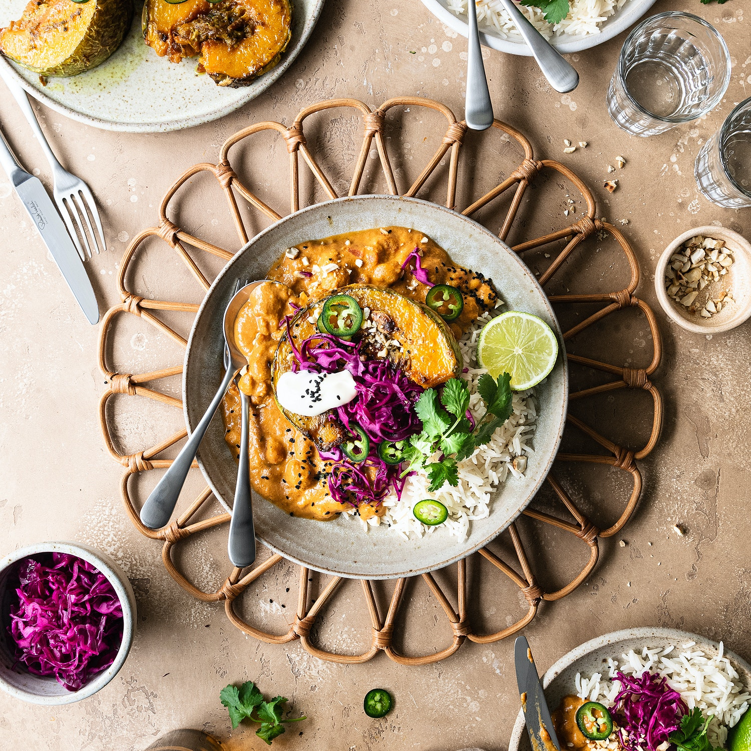 Chickpea Makhani with Spiced Roasted Squash